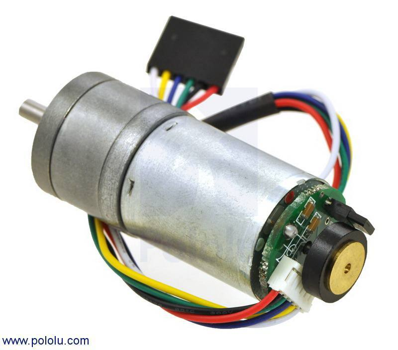 9.7:1 Metal Gearmotor 25Dx48L mm  with 48 CPR Encoder, Pololu Robotics and Electronics