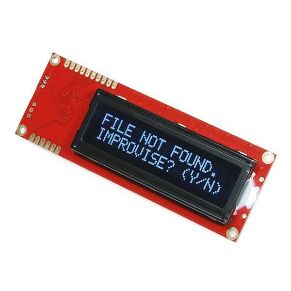 Serial Enabled 16x2 LCD - White on Black 5V, SparkFun Electronics