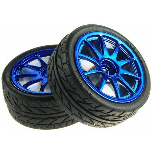 D65mm Rubber Wheel Pair - Blue [without shaft], DFRobot