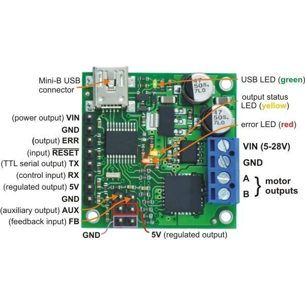 Jrk 21v3 USB Motor Controller with Feedback [Fully Assembled], Pololu Robotics and Electronics