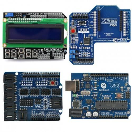 Arduino UNO+LCD Keypad Shield+XBee Shield+Sensor Shield V4 kit, SAINSMART