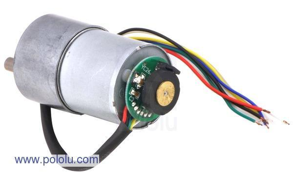 19:1 Metal Gearmotor 37Dx52L mm with 64 CPR Encoder, Pololu Robotics and Electronics