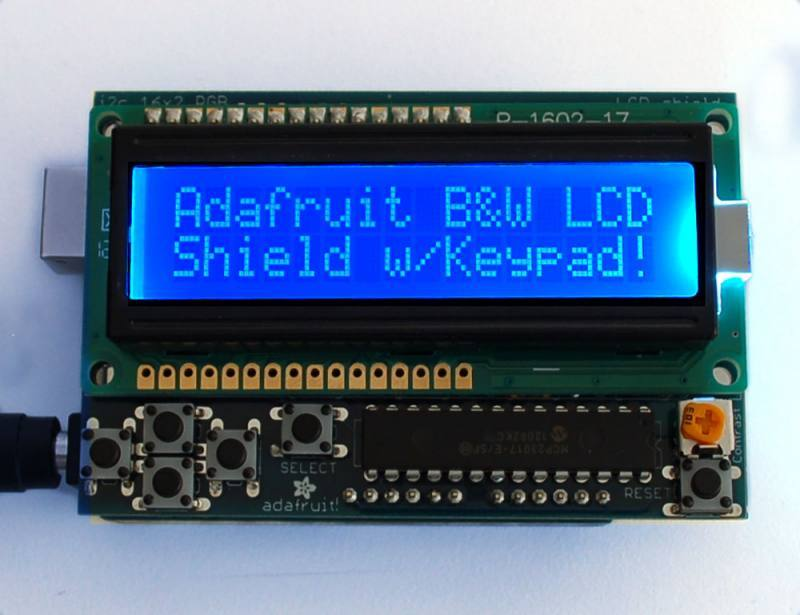 LCD Shield Kit w/ 16x2 Character Display - Blue and White, ADAFRUIT INDUSTRIES