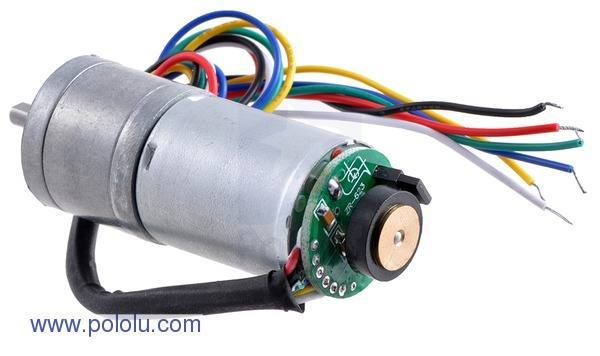 75:1 Metal Gearmotor 25Dx54L mm HP with 48 CPR Encoder, Pololu Robotics and Electronics
