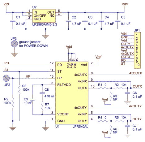 LPR510AL dual-axis (pitch and roll or XY) gyroscope carrier schematic.