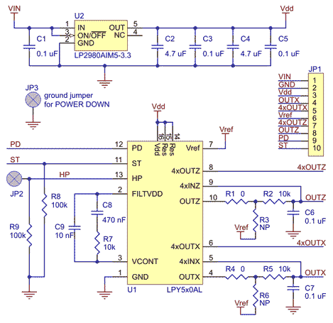 LPY510AL dual-axis (pitch and yaw or XZ) gyroscope carrier schematic.
