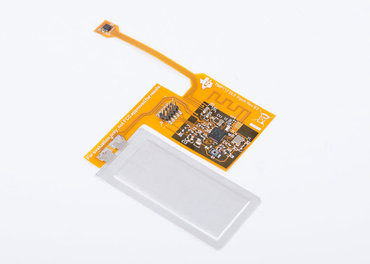Bluetooth-enabled high accuracy skin temperature measurement flex PCB patch reference design TIDA-01624