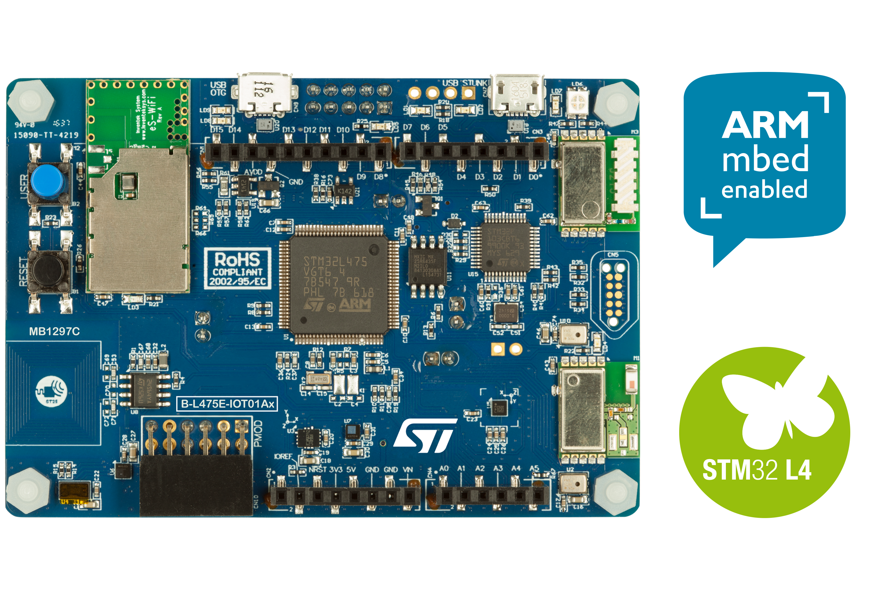 STM32L4 Discovery kit IoT node, low-power wireless, BLE, NFC, SubGHz, Wi-Fi B-L475E-IOT01A