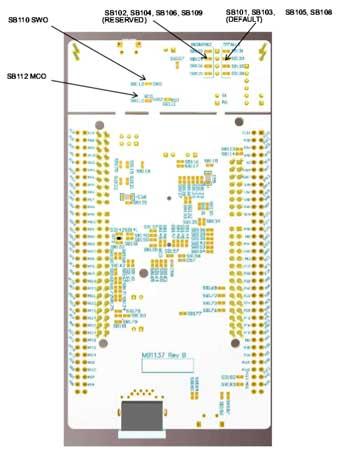 Расположение некоторых джамперов (под пайку) на отладочной плате. Вид снизу