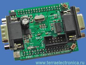 AVR-CAN - макетная плата фирмы Olimex для микроконтроллера AT90CAN128 с отладочными интерфейсами ICSP и JTAG