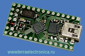 AVR-CRUMB8-USB - высокоинтегрированная плата с большой плотностью монтажа для построения и отладки систем на базе микроконтроллера ATmega8 и USB интерфейса (VCO) – CP2102 от SILICON LABORATORIES