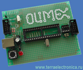 AVR-P40-USB - недорогая плата для макетирования устройств на базе микроконтроллеров AT90S8535 и AT90S4434 фирмы Atmel