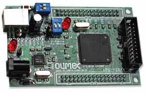 Макетная плата на базе микроконтроллера  LPC2294 (вид сверху)