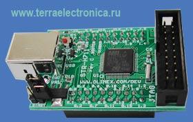 STR-H711 - отладочная плата фирмы OLIMEX для микроконтроллера STR711FR2T6 ARM7TDMI-S