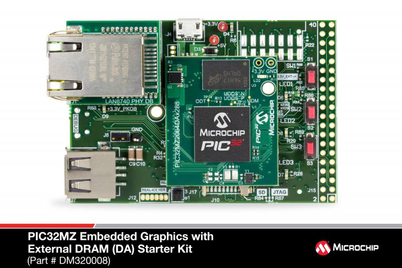 Демоплата  The PIC32MZ Embedded Graphics with External DRAM (DA) Starter Kit (DM320008 for non-Crypto development or DM320008-C for Crypto development) provides a low-cost method for the development and testing of graphics applications with PIC32MZ DA family devices