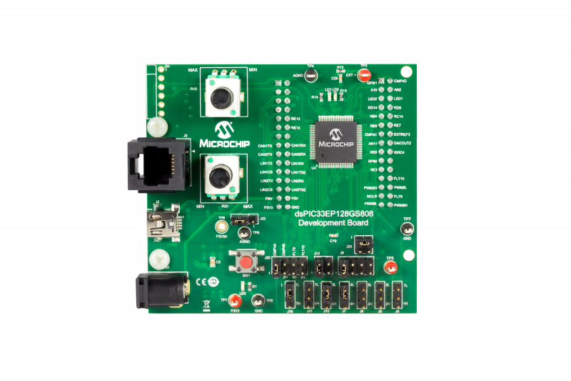 Демоплата  The dsPIC33EP128GS808 Development Board consists of a 80-pin microcontroller for operating on a standalone basis or interfacing with CAN/LIN/J2602 PICtail™ (Plus) Daughter Board. In the standalone mode, the board can be used for verifying the periph