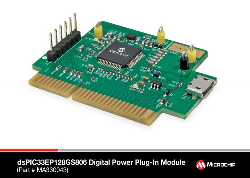 Демоплата  The dsPIC33EP128GS806 Digital Power Plug-In Module (DP PIM) is a demonstration board that showcases the Microchip dsPIC33EP128GS806 16-Bit Digital Signal Controller (DSC) features. The DP PIM provides access to the dsPIC33EP128GS806 analog inputs, the Dig