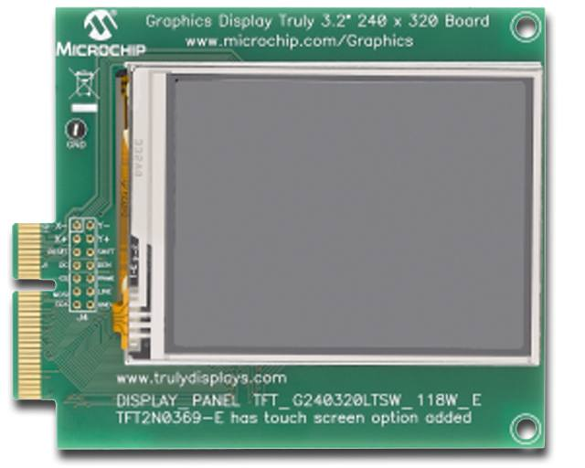 "Демоплата  The Graphics Display Truly 3.2"" 240x320 Board is a demonstration board for evaluating Microchip's graphic display solution and graphics library for 16- and 32-bit microcontrollers. It is an expansion board compatible with the PIC24FJ256DA210 D"
