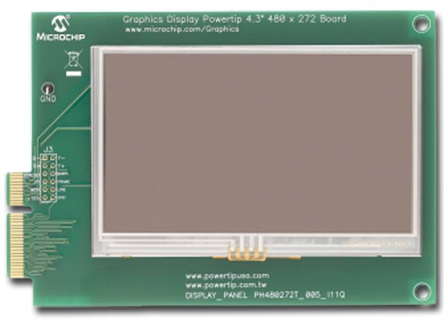 "Демоплата  The Graphics Display Powertip 4.3"" 480x272 Board is a demonstration board for evaluating Microchip's graphic display solution and graphics library for 16- and 32-bit microcontrollers. It is an expansion board compatible with the PIC24FJ256DA21"