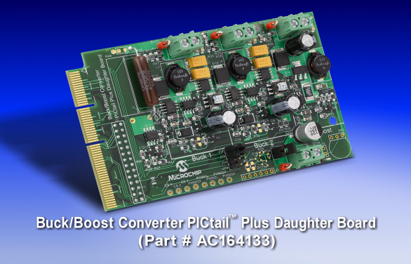 Демоплата  Buck/Boost Converter PICtail™ Plus Daughter Board provides an easy and economical development platform for dsPIC® SMPS and Digital Power Conversion GS family Digital Signal Controllers which are designed to provide low-cost and efficient control