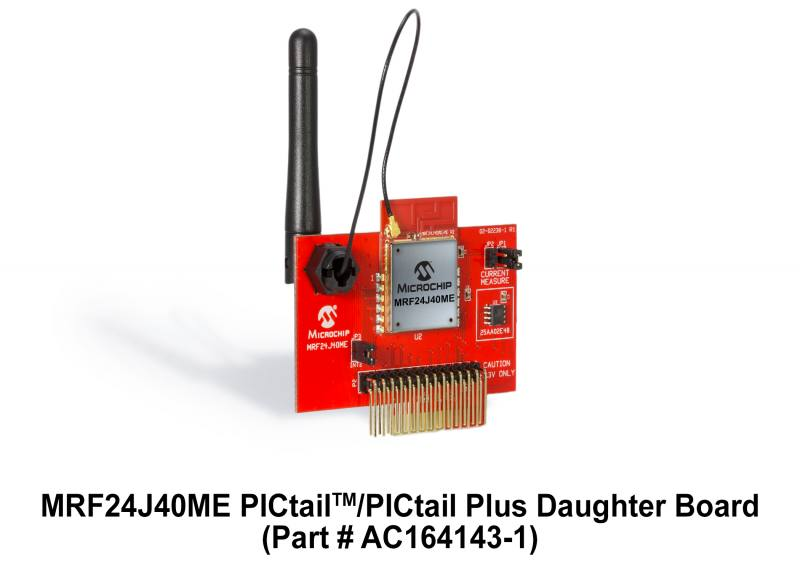 Демоплата  The MRF24J40ME PICtail™/PICtail Plus Daughter Board is a demonstration and developmentdaughter board for the MRF24J40ME 2.4 GHz IEEE Std. 802.15.4 RF Transceiver Module with PA/LNA and External Antenna Connector The daughter board can be plugged int