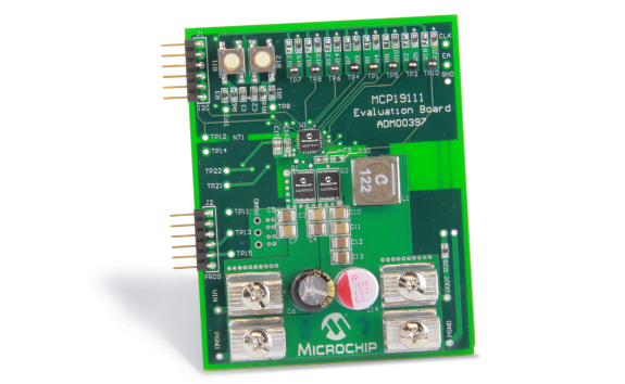 Демоплата  The MCP19111 is a digitally-enhanced PWM controller. It combines a pure-analog PWM controller with a supervisory microcontroller making it a fast, cost-effective, and configurable power conversion solution. The MCP19111 is ideal for standard power convers