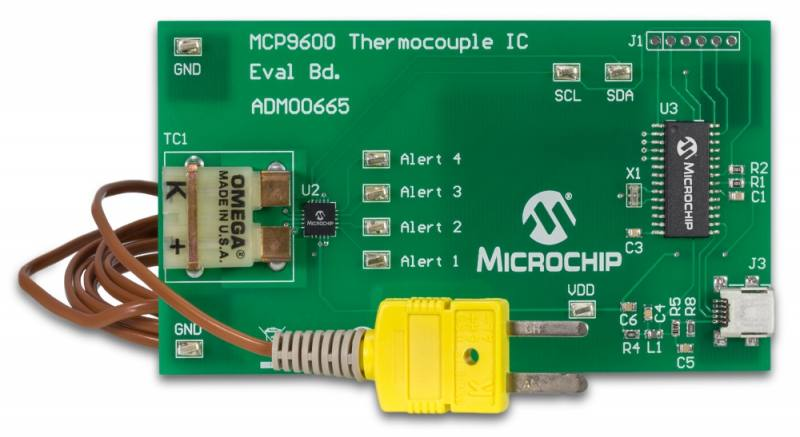 Демоплата  The MCP9600 Evaluation Board is used to digitize the Thermocouple EMF voltage to degree Celsius with +/-1C accuracy. Users can easily evaluate the all device features using a Type K thermocouple. The device also supports Types J, T, N, E, B, S and R. Each