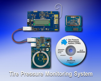 Демоплата  Tire Pressure Monitoring System (TPMS) measures the tire pressure and wirelessly transmits the data to a controller which displays it on a LCD screen.