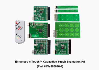 Демоплата  The enhanced mTouch Capacitive Touch Evaluation Kit provides a simple platform for developing a variety of capacitive touch sense applications using PIC16F, PIC18F, PIC24F and PIC32 microcontrollers. The Diagnostic Tool provided allows the user to analyze