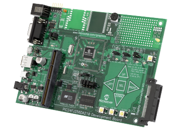 Демоплата  The PIC24FJ256DA210 Development Board is a low cost and efficient development board to evaluate the features and performance of the PIC24FJ256DA210 with integrated graphics, mTouch™ and USB. This board is an ideal platform for developing graphical h