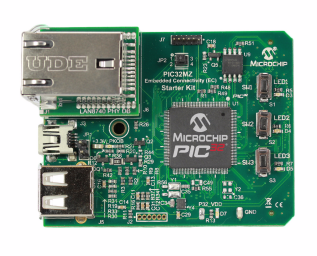 Демоплата  The PIC32MZ EC Starter Kit provides the easiest and lowest cost method to experience the high performance and advanced peripherals integrated in the PIC32MZ Embedded Connectivity MCUs. This starter kit features a socket that can accommodate various 10/100