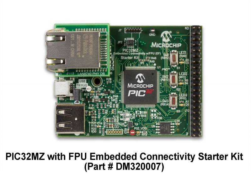 Демоплата  The PIC32MZ Embedded Connectivity with Floating Point Unit (EF) Family Starter Kit (DM320007 for non-Crypto development or DM320007-C for Crypto development) provides a low-cost method for the development and testing of USB and Ethernet-based applications