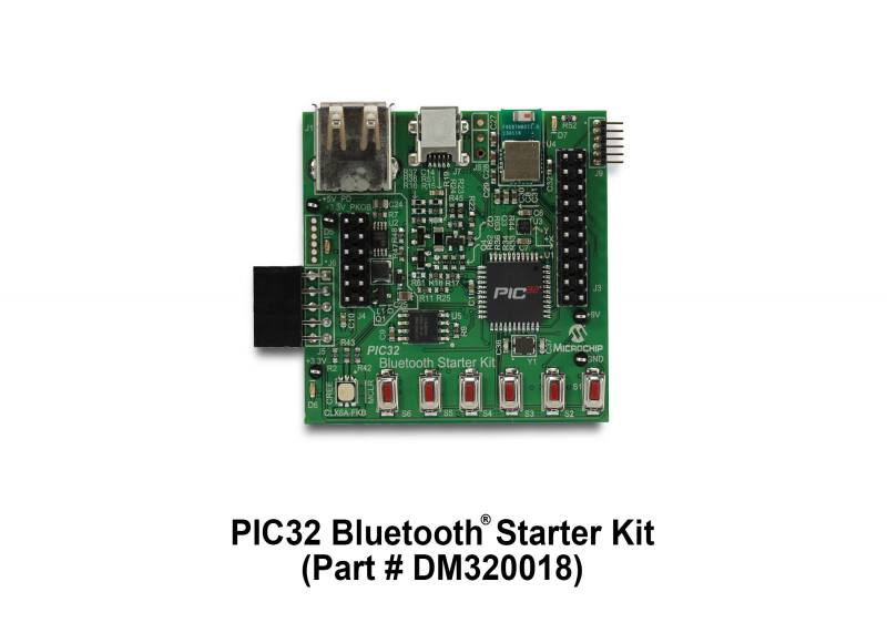 Демоплата  The PIC32 Bluetooth Starter Kit is a low-cost Bluetooth development platform featuring the PIC32MX270F256D MCU. This kit features a HCI-based Bluetooth radio, pushbuttons, Cree high-output multi-color LED, standard single-color LEDs, accelerometer, temper