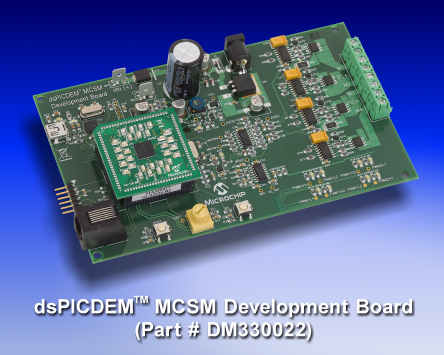 Демоплата  The Microchip dsPICDEM™ MCSM Development Board is targeted to control both unipolar and bipolar stepper motors in open-loop or closed-loop (current control) mode. The hardware is designed in such a way that no hardware changes are necessary for 8-,