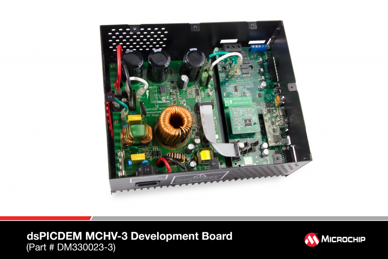 Демоплата  The Microchip dsPICDEM™ MCHV-3 Development System is intended to aid the user in the rapid evaluation and development of a wide variety of motor control applications using a dsPIC® Digital Signal Controller (DSC). This development system is targ