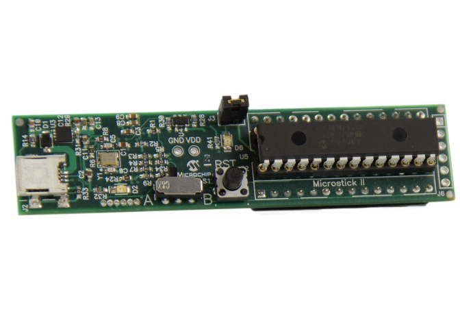 Демоплата  Microstick II delivers a complete development hardware platform for Microchip's 16-bit and 32-bit microcontrollers and digital signal controllers. It's the perfect solution to those looking for a low-cost, easy-to-use development platform. (No
