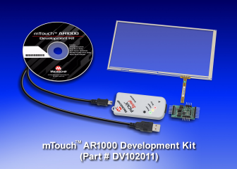 "Демоплата  The mTouch AR1000 Development Kit provides everything designers need to get started using AR1000 resistive controllers for a turn-key, cost effective solution. The kit includes the AR1000 development board, a 7"" four-wire resistive touch screen, a P"