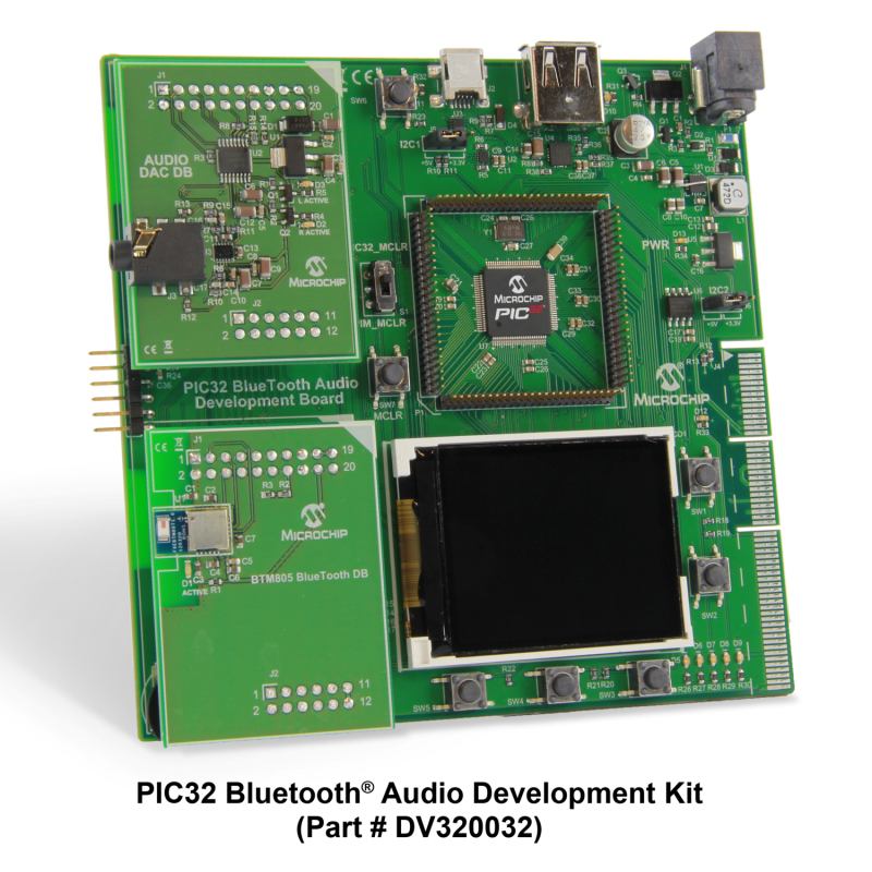 Демоплата  The PIC32 Bluetooth® Audio Development Kit provides a comprehensive solution to develop Bluetooth A2DP audio streaming solutions and applications. The board is coupled with two daughter cards: the Bluetooth HCI Radio Daughter Card that demonstrates a
