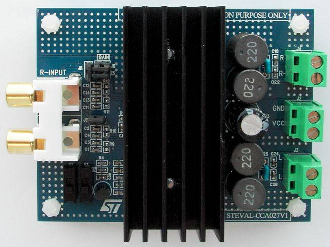 50 W+50 W dual BTL class-D audio amplifier demonstration board based on TDA7492 STEVAL-CCA027V1