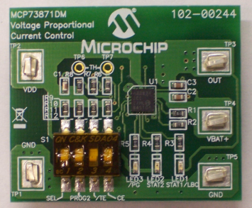Демоплата  The MCP73871 Demo Board with Voltage Proportional Current Control is designed to demonstrate Microchip's stand-alone linear Li-Ion battery charger with system power path and load sharing management control solution. The MCP73871 integrates the required el