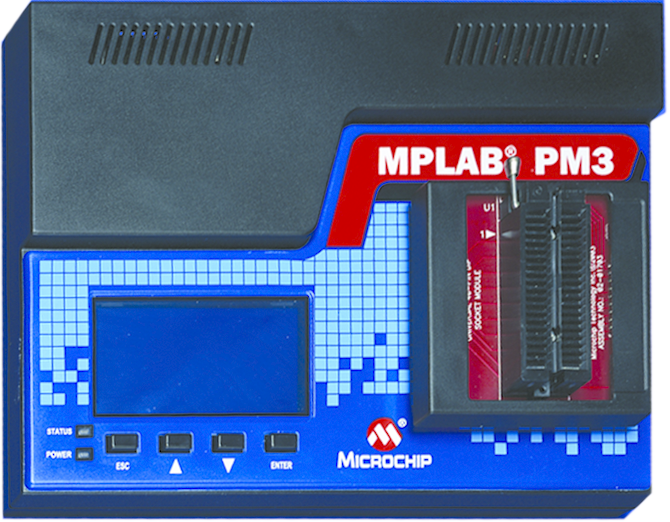 Демоплата  The MPLAB® PM3 Universal Device Programmer is easy to use and operates with a PC or as a stand-alone unit, and programs Microchip's entire line of PIC® devices as well as the latest dsPIC® DSC devices. When used standalone, data can be loaded