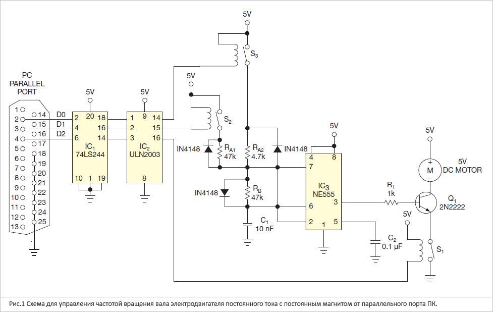 Схема, описанная в данной дизайн-идее, позволяет управлять частотой вращения вала 5 В электродвигателя постоянного...