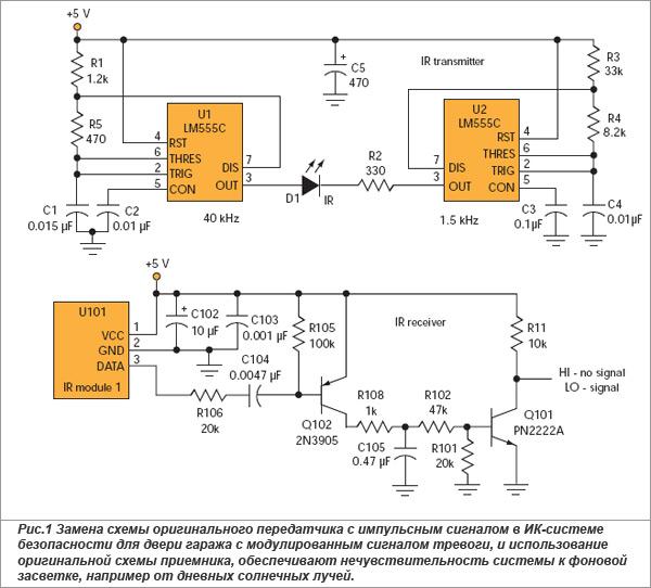 В схеме ИК-передатчика