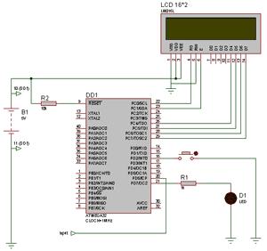 Схема измерителя ускорения на микроконтроллере AVR ATmega32.