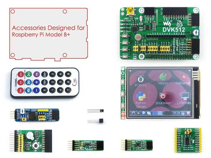 В комплекте RPi B+ Acce A богатый набор различных плат: DVK512 и др.