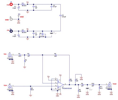 Схема принципиальная электрическая оценочного модуля THS3491DDAEVM