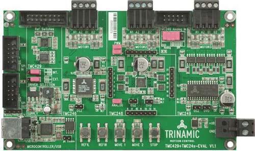 Макетная плата TMC429+tmc24x-EVAL для управления шаговыми двигателями.