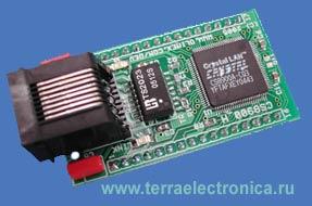 Макетная плата с установленным ETHERNET контроллером CS8900A