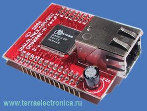 DM9000E-H – макетная плата с установленным 10/100MBIT ETHERNET контроллером DM9000E