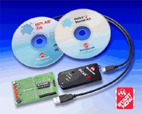 DV164120 - набор из внутрисхемного программатора и макетной платы для программирования PIC® микроконтроллеров с количеством выводов: 8, 14, 20